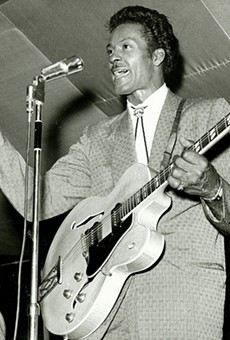 """Chuck Berry performing during """"Chuck Berry's Bandstand."""" Photograph by Irving Williamson, 1965."""