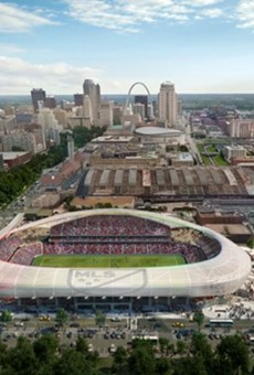 An artist's rendering of a proposed downtown MLS stadium.