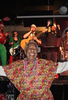 The Dan Kelley Christmas band with the late Otis Woodard, for whose organization DK Christmas raises money.