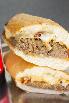 The meatloaf sandwich comes with roasted tomato and fresh mozzarella.