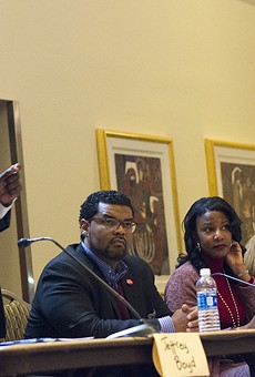The five front-runners for mayor of St. Louis. From left to right: Jeffrey Boyd, Antonio French, Tishaura Jones, Lyda Krewson and Lewis Reed.