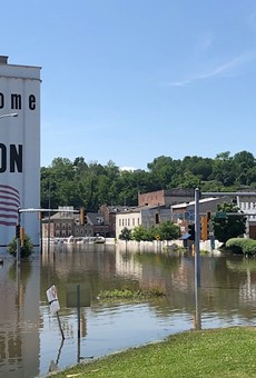A rising Mississippi has washed out previously solid ground in Alton, Illinois.
