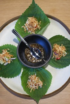 Mieng kham, made with dried shrimp, coconuts and fresh lime is one of the traditional appetizers served at Chao Baan.