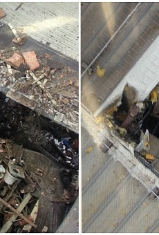 A piece of an industrial boiler shot out of the roof of Loy-Lange Box Co. (L) and crashed through the roof of Faultless Healthcare Linen (R) on April 3, 2017.