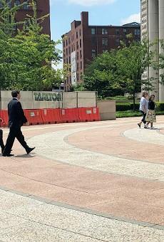 Steve Stenger and attorney Scott Rosenblum, left, arrive for the sentencing.