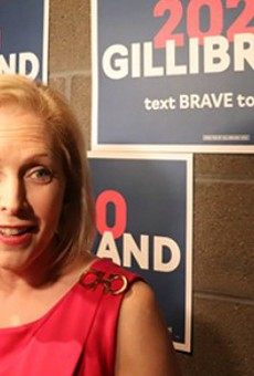 Senator Kirsten Gillibrand focused on reproductive rights during a forum at Delmar Hall.