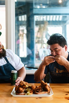 Rick Lewis, at left, of Grace Meat + Three with Perennial Artisan Ales co-founder Phil Wymore.