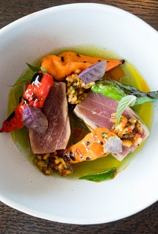 Big-eye tuna with habanada peppers, chile relish, annatto seed and cucumber jus.