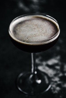 Are You Afraid of the Dark with J. Rieger & Co. gin, Averna, Curacao noir, Jamaican rum, molasses, ginger and lemon.