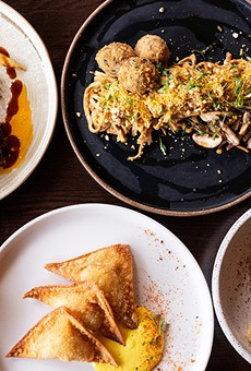 A selection of items from Akar, pictured from left to right, top to bottom: short ribs, Mama Lee's Noodles, chicken meatballs, coconut curry with chicken, lobster wontons and coconut chocolate fudge for dessert.