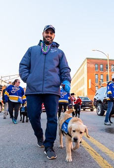 Randy Girsch, St. Louis Blues vice president of community partnerships, and Barclay.