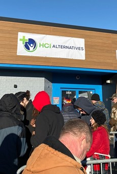 Hundreds lined up to get into a Metro East dispensary. Missouri's dispensaries are months from opening.