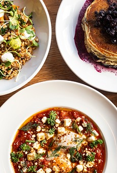 A selection of items from Winslow's Table, pictured from left to right, top to bottom: grain salad, Winslow's pancakes, baked goods, shakshuka and chicken and dumplings.