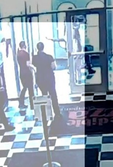 Security footage at the moment a customer who didn't want to wear a mask maced employees.