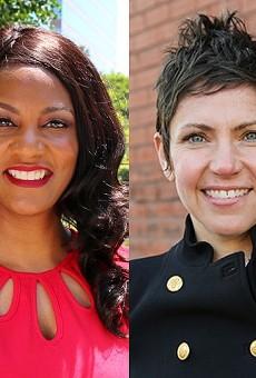 The four candidates for St. Louis mayor. From left: Board of Aldermen President Lewis Reed, Treasurer Tishaura Jones, Alderwoman Cara Spencer, Andrew Jones.