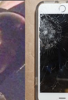 (Left) The face of a St. Louis officer in riot gear, identified by prosecutors as Christopher Myers, in a video shot by Luther Hall. (Right) Luther Hall's smashed phone.