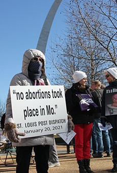 "Anti-abortion protesters gathered in St. Louis in February to celebrate a misinterpreted news story they claimed proved Missouri is ""abortion free."""