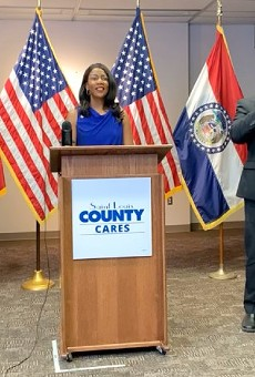St. Louis Mayor Tishaura Jones and County Executive Sam Page (left) announce the latest health order.
