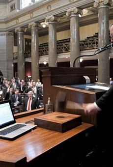 Missouri House of Representatives Speaker Rob Vescovo, R-Arnold, lowers the gavel signaling the conclusion of the First Regular Session of the 101st General Assembly