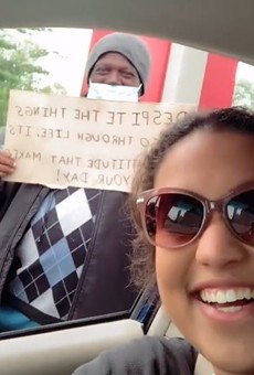 As shown in a viral TikTok, St. Louis college student Maya Nepos and a recipient of her care packages.