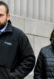 Randy Hays and Bailey Colletta leave court in December 2018.