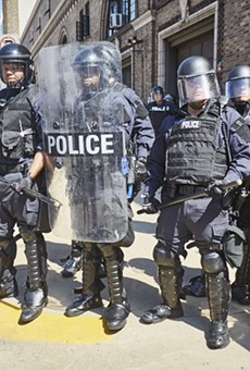 St. Louis police block protesters on Sept. 15, 2017, after ex-police officer Jason Stockley was found not guilty of murder.