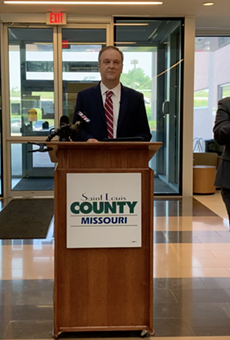 County Executive Dr. Sam Page at a press conference announcing vaccination initiatives on July 19, 2021.