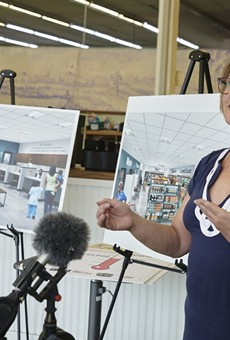 Executive Director Karen Lanter at a news conference announcing Feed My People's plans to renovate its food pantry.