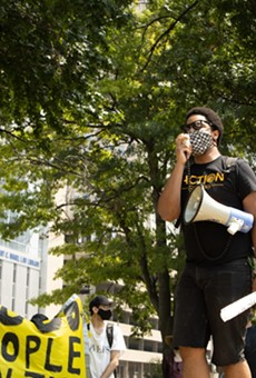 Activist and organizer Kennard Williams speaks to a crowd of about 40 protesters at Poelker Park on August 2, 2021. Williams and the crowd gathered to protest the end of the federal eviction moratorium.