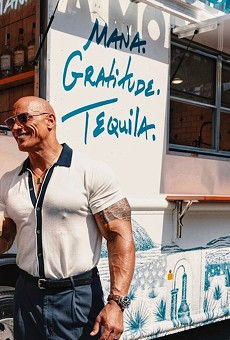 """Dwayne """"The Rock"""" Johnson in the flesh with the Mana Mobile."""