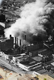 A composite photo of the 1976 Heyday fire with the area today, as featured in a new documentary on Escape from New York.