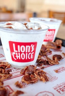 """The """"Heart Stopping Bacon Concrete"""" is available now through September 13th at area Lion's Choice stores."""