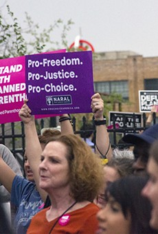 Planned Parenthood supporters at a rally in April.