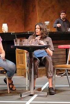 Amy Loui, left, who plays Tracey, sees parallels labor issues of Sweat and the pandemic's effect on the theater industry.