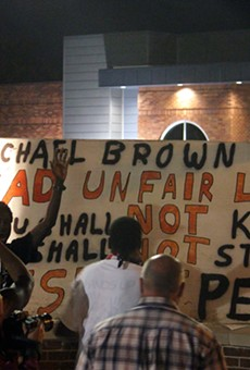Protesters gathered outside the Ferguson Police Department on September 26, 2014.