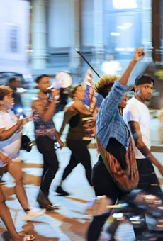 Protesters marched through St. Charles on Friday, September 23.
