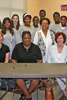 The Rev. Dr. Karla Frye, center, photographed at a program sponsored by Artworks.