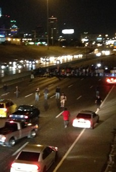 Protesters completely blocked traffic on I-64/40 eastbound near downtown St. Louis on Tuesday, October 3.