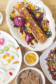Confluence Kombucha highlights include nukazuke, tempeh and celery pancakes.