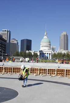 This is the current view from what will become the main entrance to the Arch, which looks out over the fountain.