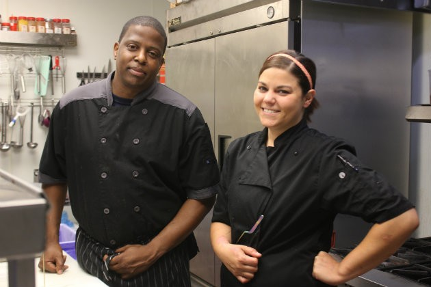 Chef Jessie Gilroy, with her sous chef, Lucious Simmons. - CHERYL BAEHR