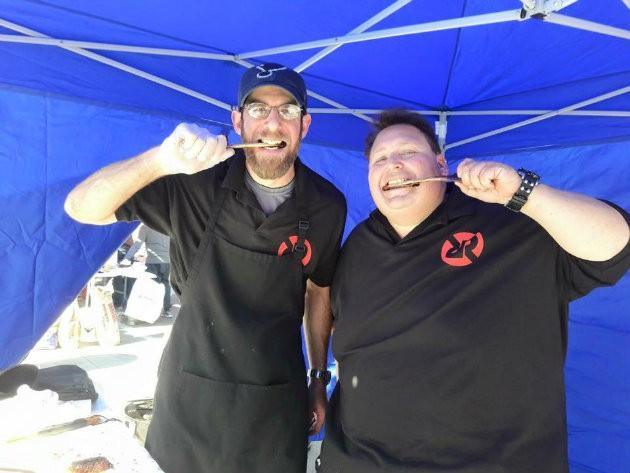 Vernon's owner Matt Stiffelman and his teammate, Hunter Rose, celebrate at the Dallas Kosher BBQ Championships. - COMPLIMENTS OF MATT STIFFELMAN