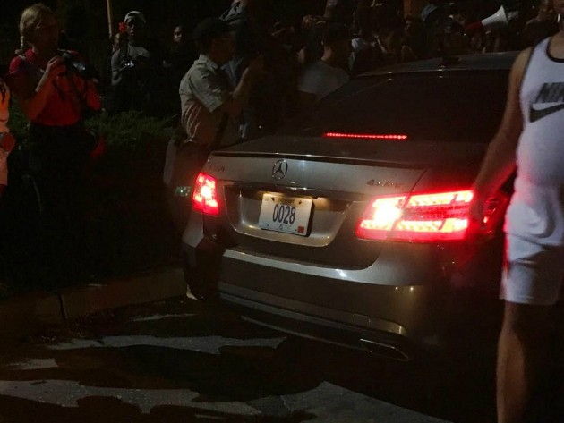 The Mercedes photographed during September protests was registered to Lieberman. - PHOTO COURTESY OF LIZ GERARD