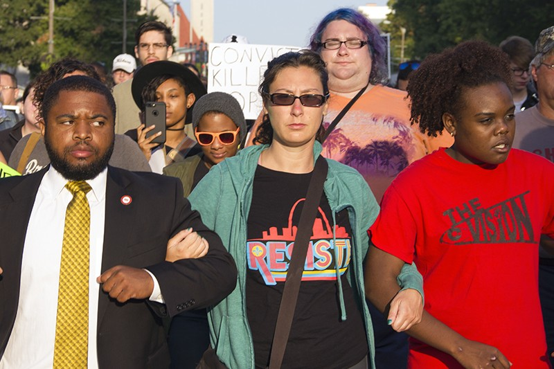 Alderwoman Megan Green joined with protesters in September 2017. - DANNY WICENTOWSKI