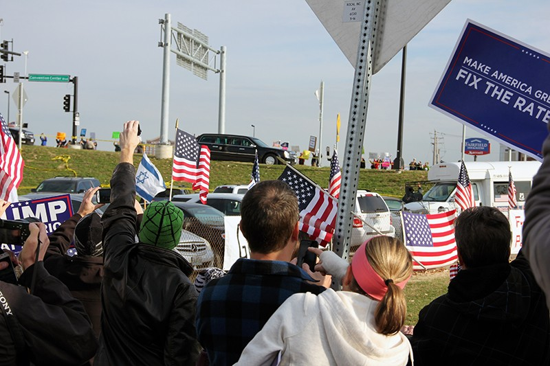 President Trump's motorcade leaves St. Charles following his rally there in November. - DANNY WICENTOWSKI