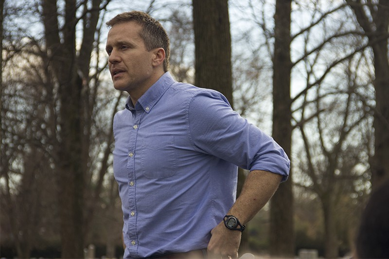 Eric Greitens stands accused by an ex-lover's ex-husband. - DANNY WICENTOWSKI
