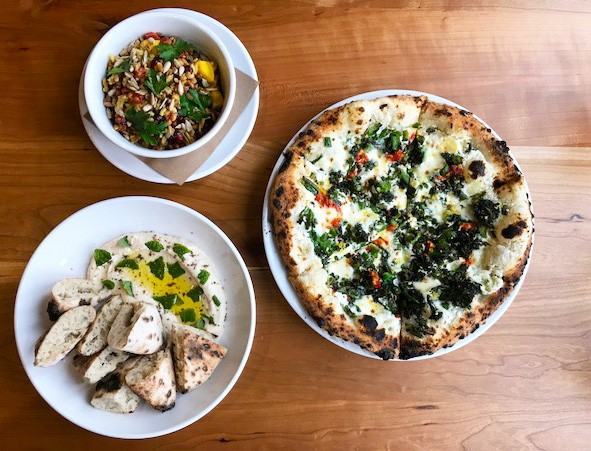 SALAD, PIZZA AND WHITE BEAN HUMMUS | SARA GRAHAM