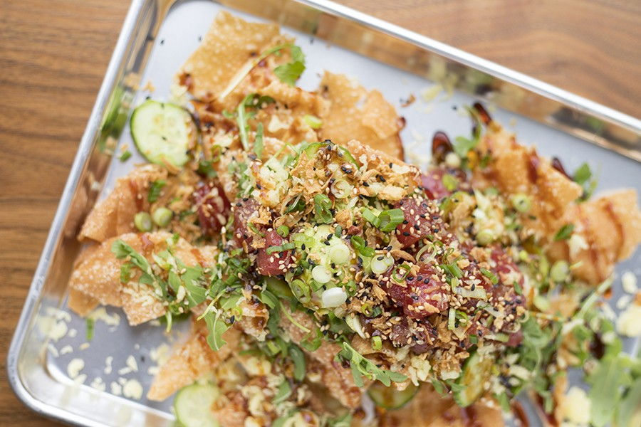 """The """"Shake Poke"""" nachos are a standout on a menu full of great things. - MABEL SUEN"""