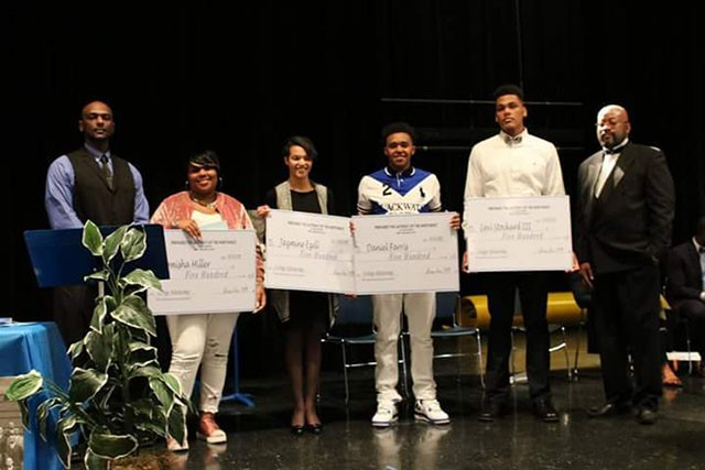 George Love, far right, stands with the four 2017 recipients of the Dorthy Mae Walker-Love Scholarship. - GORDON BOWERS