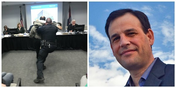 Steve Taylor, right, being body slammed at a meeting last year, left. - COURTESY OF SEIU/STEVE TAYLOR